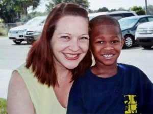 Teacher Wendy Bradshaw pictured last year with happy student, Dayon, 6.