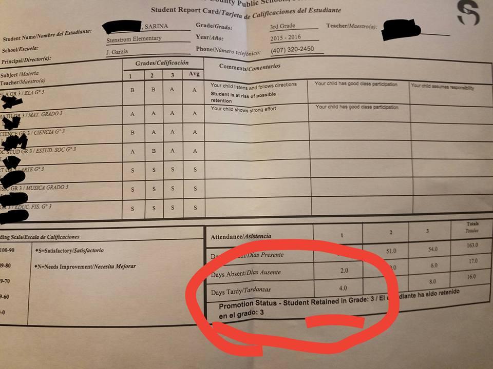 Sarina Nickerson's Third Grade Report Card